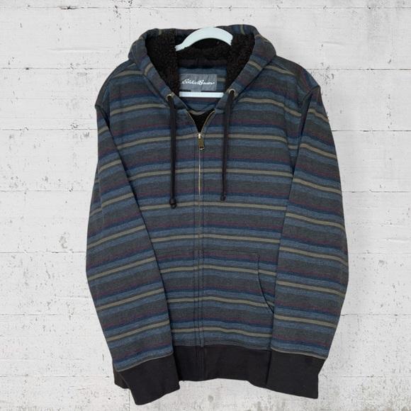 Eddie Bauer Sherpa Lined Zip Up Hoodie Jacket 2XL